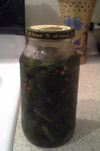 Pickled turnip greens!